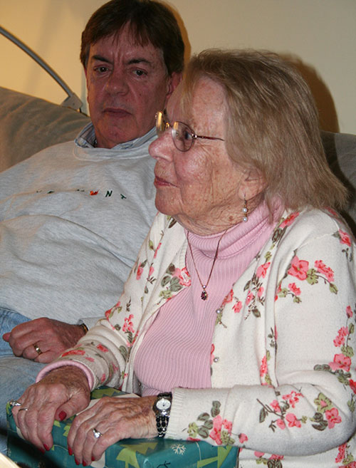 My mother with one of my brothers listening to a toast: in celebration of her 96th birthday