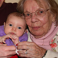 Newest great granddaughter Claire (3 months) with her great Grandmother (96)